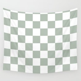 Checkered Pattern: Sage Green Wall Tapestry