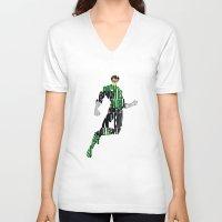 green lantern V-neck T-shirts featuring Green Lantern by A Deniz Akerman