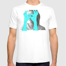 Peak-a-Boo SMALL White Mens Fitted Tee