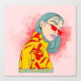 CUZ IM KOOL LIKE DAT - Cool Asian Female with Blue Hair Digital Drawing Canvas Print