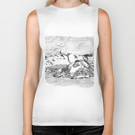 Drawing of Wizard Island in Crater Lake from the Rim Biker Tank
