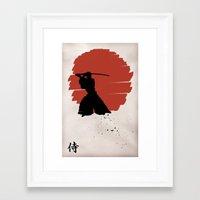 samurai Framed Art Prints featuring Samurai by Purple Cactus