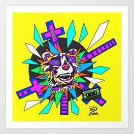 Radical Raccoon 80s Energetic Spirit Animal Pop Art Print Art Print