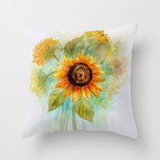 Sunflower - Watercolor Throw Pillow