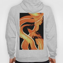 Fire Water 302 By Sharon Cummings - Abstract Orange Yellow Art Hoody