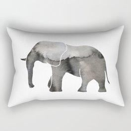 Black Watercolor Elephant Rectangular Pillow