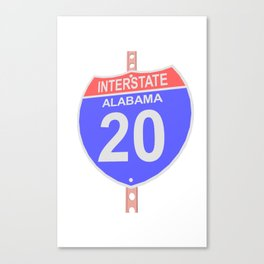 Interstate highway 20 road sign in Alabama Canvas Print