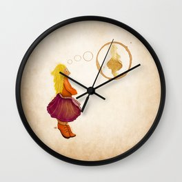 Coffee stain illustration Wall Clock