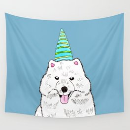 Samoyed with Party Hat Wall Tapestry