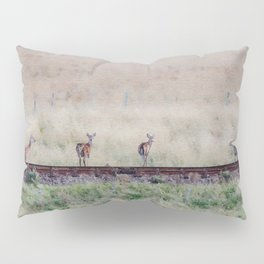 Little deers on a railway - Watercolor painting Pillow Sham