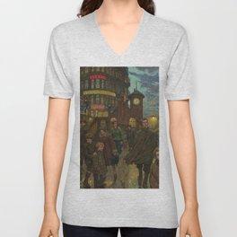 Bustling Berlin Street, Twilight, 1920's by Hans Baluschek Unisex V-Neck