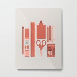 School House Monotone Metal Print