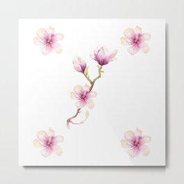 Magnolias in Watercolour Metal Print