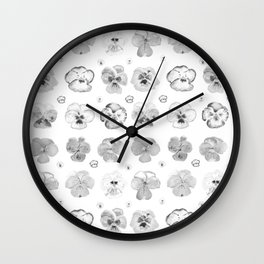 pansies illustration collection black and white Wall Clock