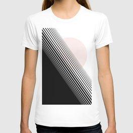 Rising Sun Minimal Japanese Abstract White Black Blush Pink T-shirt