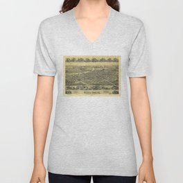 Aerial View of Canal Dover, Ohio (1899) Unisex V-Neck