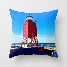 """""""Charlevoix Lighthouse Reflections"""" Throw Pillow"""