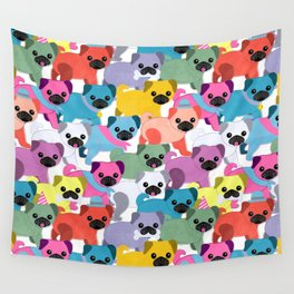 Colored Pugs Pattern - no1 Wall Tapestry