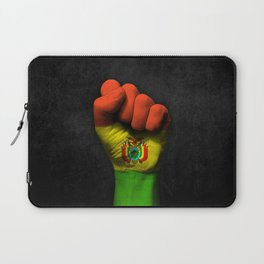 Bolivian Flag on a Raised Clenched Fist Laptop Sleeve