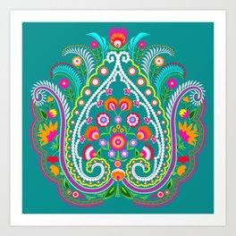 folk turquoise damask Art Print