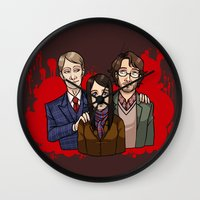 dramatical murder Wall Clocks featuring Murder Family by Will Norton