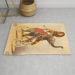 1880 Circus Show Elephant Riding a Bicycle with Lion on its back poster Rug