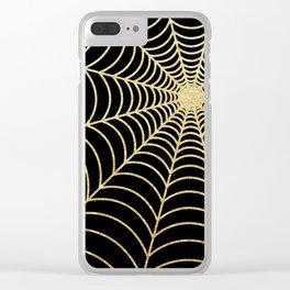 Spiderweb | Gold Glitter Clear iPhone Case