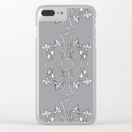Bees and flowers pattern grey Clear iPhone Case