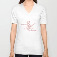 ramones V-neck T-shirts featuring Rockin' Rabbit by Adam Metzner