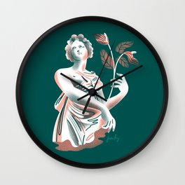 Woman with Anthurium Wall Clock