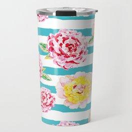 Peonies on the striped background Travel Mug