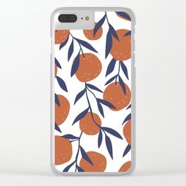 Oranges With Blue Leaves Floral Plants Pattern Clear iPhone Case