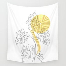 Monstera line Art Wall Tapestry
