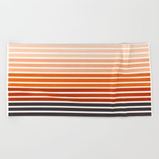 Watercolor Gouache Mid Century Modern Minimalist Colorful Burnt Sienna Stripes Beach Towel
