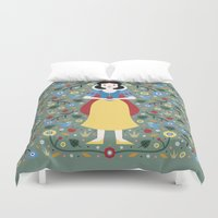 snow white Duvet Covers featuring Snow White  by Carly Watts