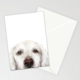 Golden Retriever WhiteDog illustration original painting print Stationery Cards