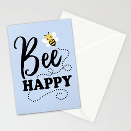 Bee Happy, Cute Fun Positive Quote Stationery Cards