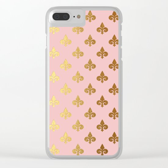 Royal gold ornaments on pink backround Clear iPhone Case