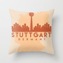 STUTTGART GERMANY CITY MAP SKYLINE EARTH TONES Throw Pillow