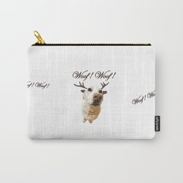 Deer dog woof Christmas childrens brown white decor quotes society6 comic Carry-All Pouch