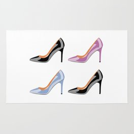 High heel shoes in black, serenity blue and bodacious pink Rug