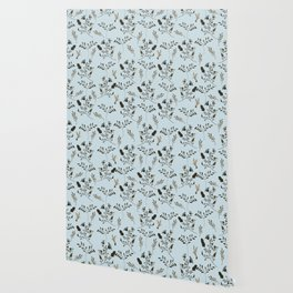 Pale Blue Bluebells and Bluebirds Floral Pattern Flowers in Blue and Bark Brown Wallpaper