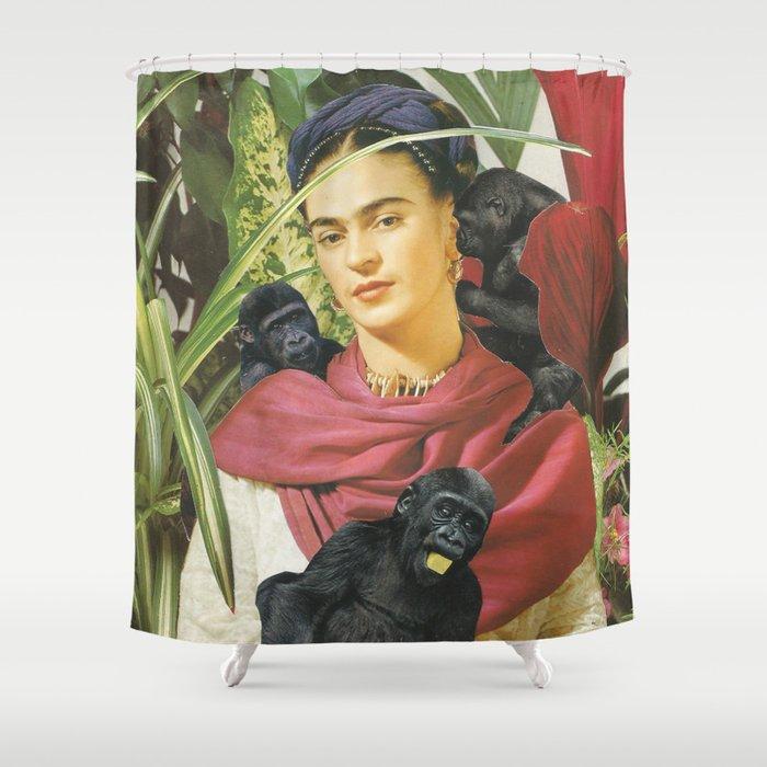 Frida Kahlo Self Portrait With Monkeys Recreated Shower Curtain