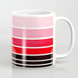 Red Minimalist Watercolor Mid Century Staggered Stripes Rothko Color Block Geometric Art Coffee Mug