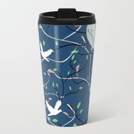 Art Nouveau Moon with Doves (Blue and Silver) Metal Travel Mug