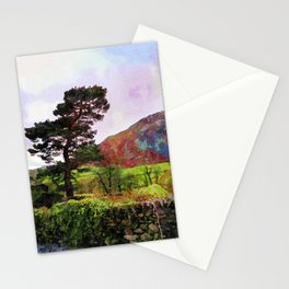 Pine and dry stone wall at Grasmere, Lake District, England Stationery Cards