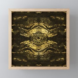 All Seeing eye golden texture on aged wood Framed Mini Art Print