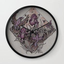 Starlings and Iris Field Wall Clock