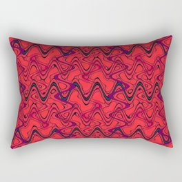 Red Black Geometric Waves Abstract Pattern Rectangular Pillow