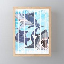 Shark With Texture Framed Mini Art Print